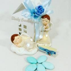 Idea bomboniera nascita battesimo comunione statuetta angioletto assortito in confezione casetta bimbo