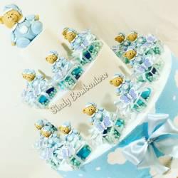Idea bomboniera per nascita battesimo plexiglass decorati con orsacchiotto farfalla blu per bambino