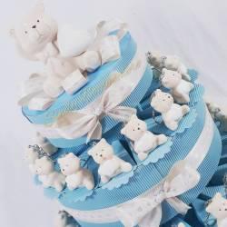 TORTA BOMBONIERA ORSETTO bimbo maschietto portachiavi cuore 1 compleanno battesimo nascita