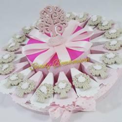Torta portabomboniera con alberi della vita magneti in ceramica bomboniera battesimo nascita