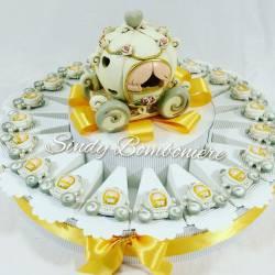 Torta bomboniera con carrozze magneti in resina e centrale carrozza con luce a led