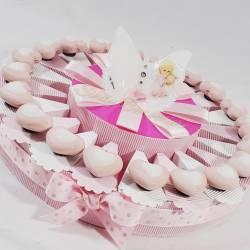 TORTA BOMBONIERA bambina con cuori rosa in ceramica e farfalla con angioletto Gai Mattiolo