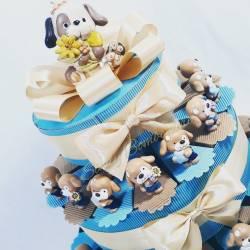 Torta bomboniera animaletti Cagnolini da appoggio nascita battesimo comunione cresima e compleanno