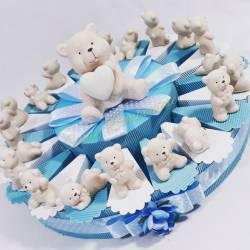 Bomboniere in porcellana lucida per maschietto orsi animaletti Tenerello
