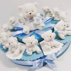 Torta bomboniera ORSETTO Polar con PAPILLON e BIBERON azzurro ideale per nascita compleanno BATTESIMO prima comunione CRESIMA