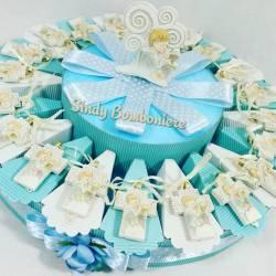 Bomboniera originale torta per comunione con crocifisso tao e albero di natale preghiera appendibile bimbo