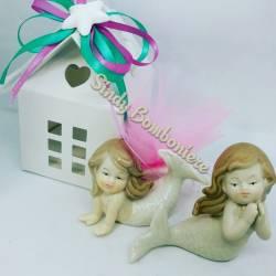 Originale bomboniera nascita battesimo comunione sirena sirenetta in porcellana assortita