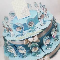 Torta da 28 fette con bomboniere da appoggio in cristallo swarovski sacra famiglia bambino SPEDIZIONE GRATUITA