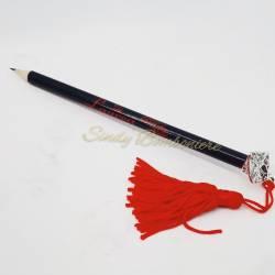 Originale bomboniera aprifesta per laurea sacchettino veletto + matita nera confetti + bigliettino pensiero