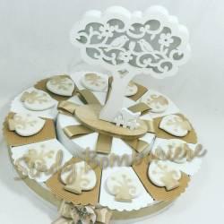 Bomboniere per comunione cresima battesimo con albero della vita in porcellana magnete uccellini