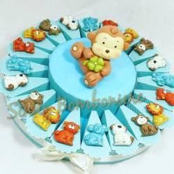Battesimo nascita bomboniera torta animaletti assortiti magneti + scimmietta salvadanaio