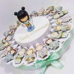 Bomboniere torta giapponesina geisha magnete per nascita battesimo compleanno bimba comunione cresima
