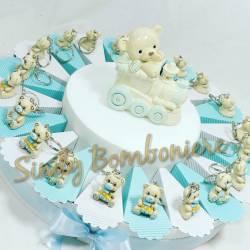 Bomboniere battesimo nascita primo compleanno portachiave orsetto azzurro con biberon torta maschietto