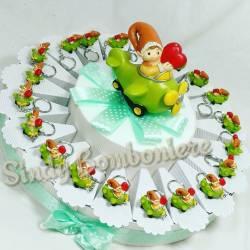 Torta bomboniera nascita battesimo 1° compleanno portachiavi gnomo aeroplano cuoricino rosso