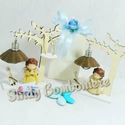 Bomboniere per battesimo nascita comunione cresima albero della vita angioletto assortito con lampada bimbo