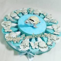 Torta bomboniera per battesimo nascita comunione con animaletti argentati tartaruga elefante coccinella farfalla