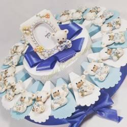 Torte bomboniere per nascita 1 anno orsetto magnete con fiori per maschietto