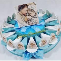 Torta porta bomboniera maschietto a tema sacra famiglia con centrale carlo pignatelli