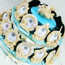 Cornice portafoto per bomboniere battesimo maschietto torta portaconfetti