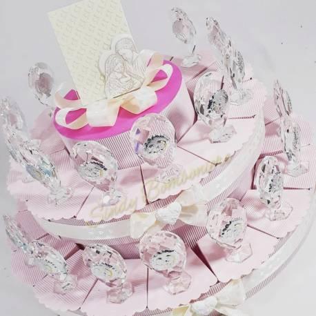 Torta porta bomboniera 28 fette comunione battesimo sacra famiglia in cristallo swarovski SPEDIZIONE GRATUITA