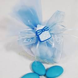 BOMBONIERA cuore trasparente portaconfetti segnaposto con biberon e nastro azzurro bimbo BATTESIMO NASCITA