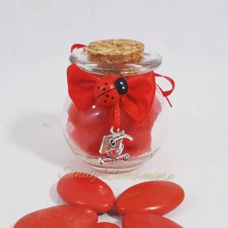Bomboniera Vasetto LAUREA con  pergamena e TOCCO in zinco, con NASTRO e  confetti rossi