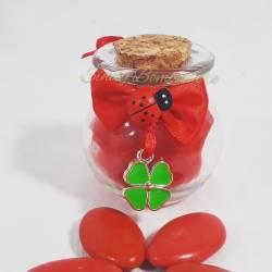 Boccaccino anforetta in vetro bomboniera laurea con ciondolo quadrifoglio
