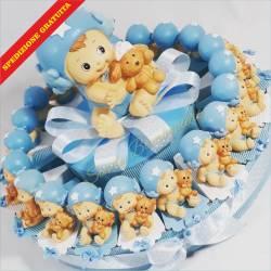 Torta bomboniera per nascita battesimo bimbo maschietto con biberon e palla