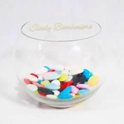 PORTA CONFETTI in vetro a forma di bolla con tappo a punta contenitore sfera