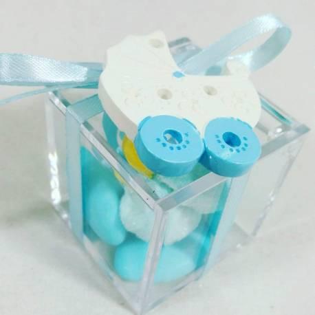 Scatola plexiglas con confetti e marsmallow bomboniera nascita