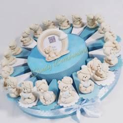 Torta bomboniera orsetti sole luna stella effetto porcellana battesimo nascita bimbo