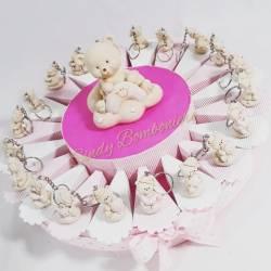 Torta bomboniera orsetti portachiavi sole luna stella rosa assortiti effetto porcellana battesimo nascita femminuccia