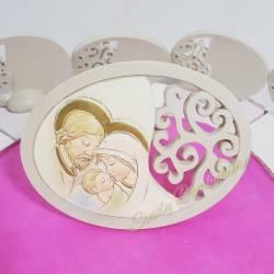 Torta bomboniera con icone sacre ovali sacra famiglia con albero della vita per battesimo nascita cresima famminuccia