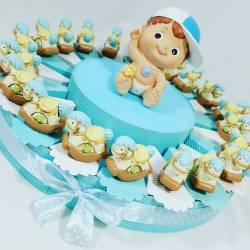 Torta bomboniera per bambino con coroncine magneti e centrale lanterna a led in resina battesimo, nascita, 1° compleanno