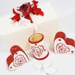 BOMBONIERE matrimonio utili SET sale/pepe portastuzzicadenti anniversario promessa PARTECIPAZIONI omaggio