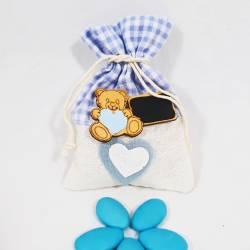 Bomboniera porta confetti sacchettino applicazione orsetto battesimo nascita maschietto