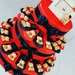 TORTA BOMBONIERA LAUREA orsetti magneti con tocco e libricino dorato