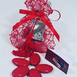 Bomboniera sacchetto portaconfetti per laurea targhetta Medicina con nappina