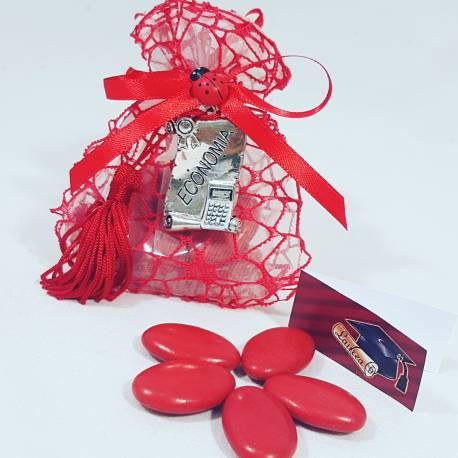 Bomboniera sacchetto portaconfetti per laurea targhetta economia con nappina