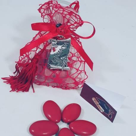 Bomboniera sacchetto portaconfetti per laurea targhetta farmacia caduceo con nappa