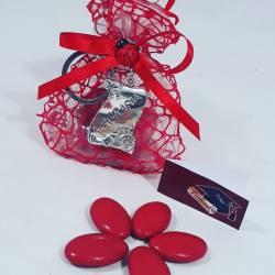bomboniere laurea agraria con portachiavi con sacchetto rosso portaconfetti sacchettino confetti rosso