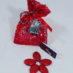 Bomboniera sacchetto portaconfetti per laurea targhetta Psicologia con Portachiavi
