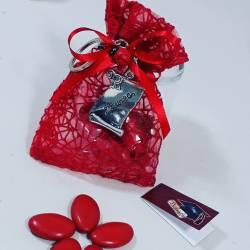 Bomboniera sacchetto portaconfetti per laurea targhetta laurea con Portachiavi