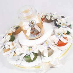 Torta bomboniera prima comunione con candele Country Candle con fragranze assortite per bambino bambina