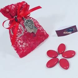 Bomboniera sacchetto portaconfetti per laurea con portachiavi ciondolo a forma di testa per psicologia con Portachiavi
