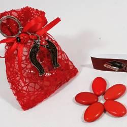 Bomboniera sacchetto portaconfetti per laurea con ciondolo a forma di Staffa di cavallo con coccinella ideale per la tua laurea.