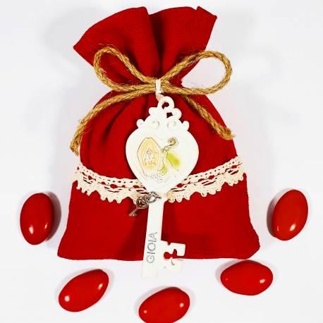 Sacchetto in cotone rosso con chiave in resina con immagine sacra cresima