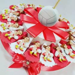 BOMBONIERA BATTESIMO COMPLEANNO torta con profumatore pallone SPORT PALLAVOLO bimba ragazza SPEDIZIONE INCLUSA