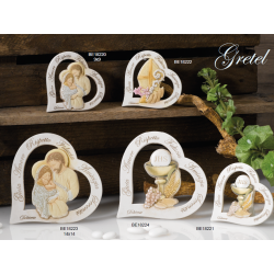 Icona sacra a forma di cuore con parole incise e immagini sacre una per ogni evento Comunione Cresima Battesimo