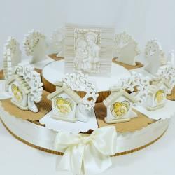 Torta porta bomboniera con casette albero della vita sacra famiglia e centrale Carlo Pignatelli 049656